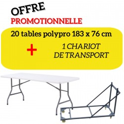 Lot 20 Tables pliantes en polypro + chariot de transport