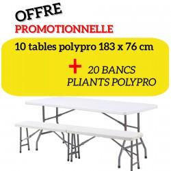 Ensemble 10 tables + 20 bancs pliants en polypro
