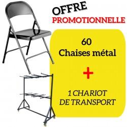 Lot de 60 chaises pliantes de collectivité en métal EUROP + 1 chariot de transport OFFERT