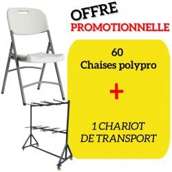 Lot de 60 chaises pliantes Polychaise avec son chariot de transport
