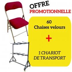 Lot de 60 chaises pliantes velours Bordeaux OPERA + 1 chariot de transport offert