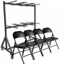 Lot chaises métal pliantes EUROP avec chariot