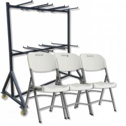 chaises pliantes en polypro et son chariot de transport