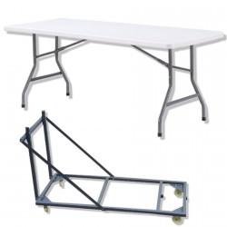 tables pliantes en plastique avec leur chariot de transport