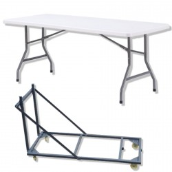 Lot 20 Tables pliantes en polypro + chariot de transport