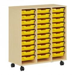Meuble 30 cases sur roulettes avec bacs jaunes amovibles