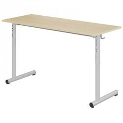 Table scolaire réglable 2 places 130x50 cm - pieds ronds