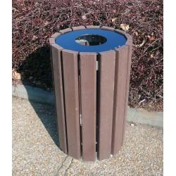Corbeille cylindrique en Plastique Recyclé modèle Rando avec couvercle - Netcollectivités