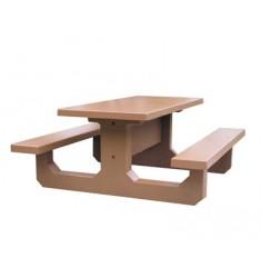 Table Pique Nique Béton rectangulaire ton bois