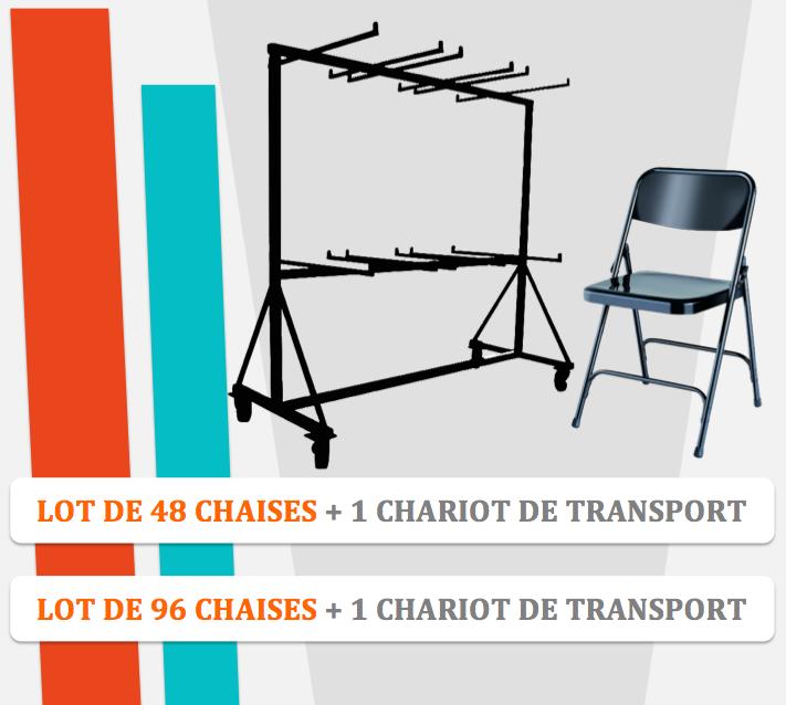 lots de chaises pliantes en métal europ et chariot de transport
