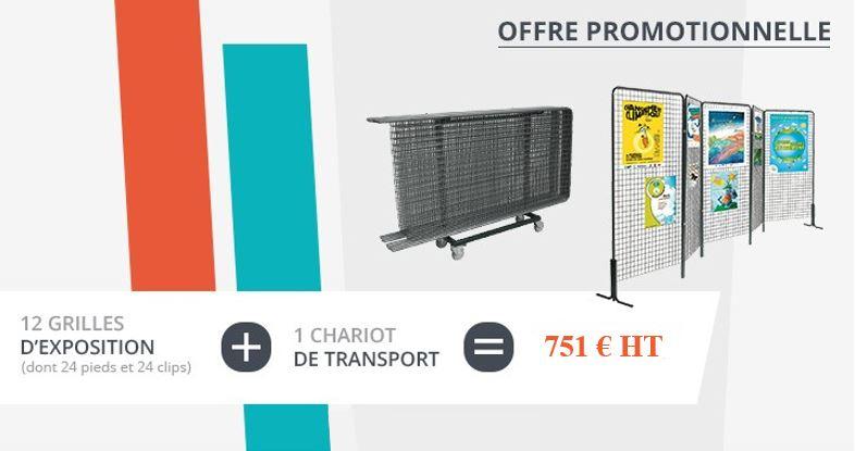 PROMO 12 grilles d 'exposition - et 1 chariot - Net Collectivitess