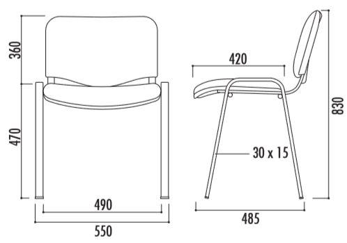 Visuel dessin technique de la chaise Iso - Net Collectivités