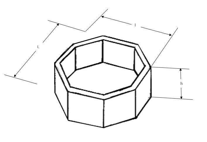 Dessin technique de la jardinière urbaine en béton octogonale - Net Collectivités