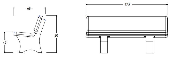 Dessin technique du banc de ville en béton modèle Croisette de Net Collectivités