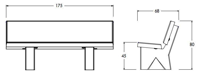 Dessin technique avec ses dimensions du banc en béton Delta - Net Collectivites