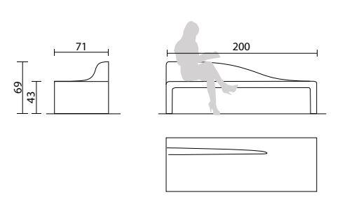 Dessin technique et dimensions du banc extérieur design pour collectivités Vague en béton - Net Collectivites