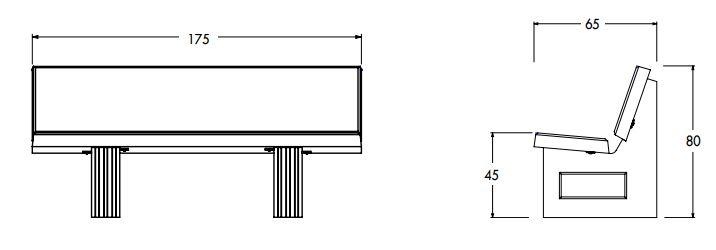 Dimensions et dessin technique du banc RIO de Net Collectivites