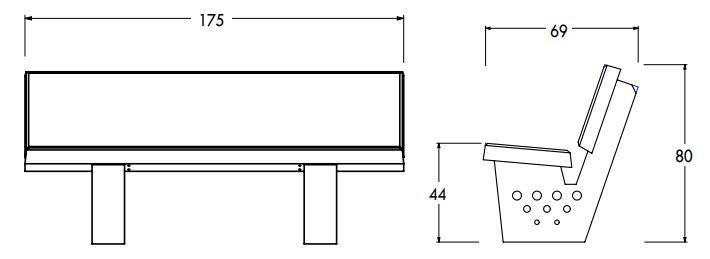 Dessin technique avec les dimensions du banc de ville en béton modèle VENISE de Net Collectivités