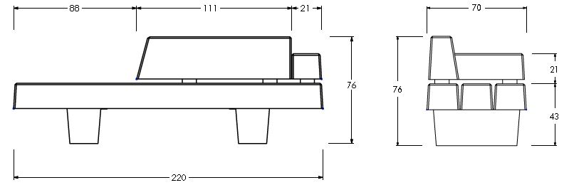 Dessin technique du banc de ville en béton design Rebeca - Net Collectivités