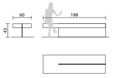 Dessin technique de la banquette béton Tilt de Net Collectivits