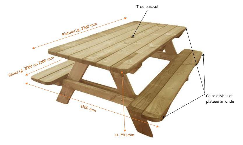 table-pique-nique-bois-dessin-technique-