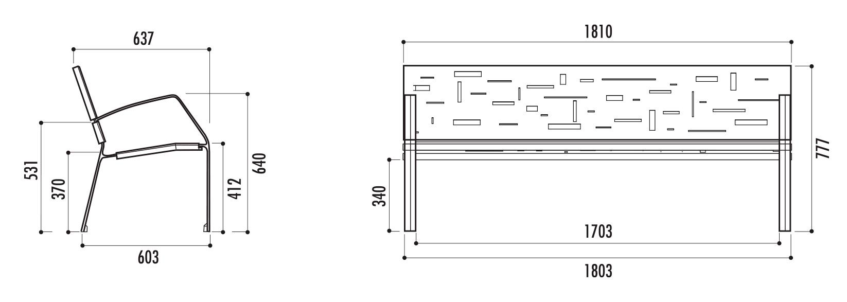 banc public m tallique abstract banc m tallique en t le d 39 acier net collectivit s. Black Bedroom Furniture Sets. Home Design Ideas