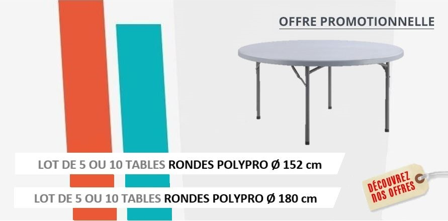 Destockage massif de tables pliantes polypro rondes